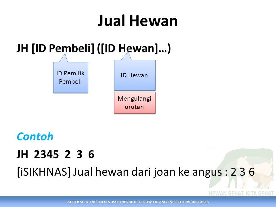 Jual Hewan JH [ID Pembeli] ([ID Hewan]…) Contoh JH 2345 2 3 6 [iSIKHNAS] Jual hewan dari joan ke angus : 2 3 6